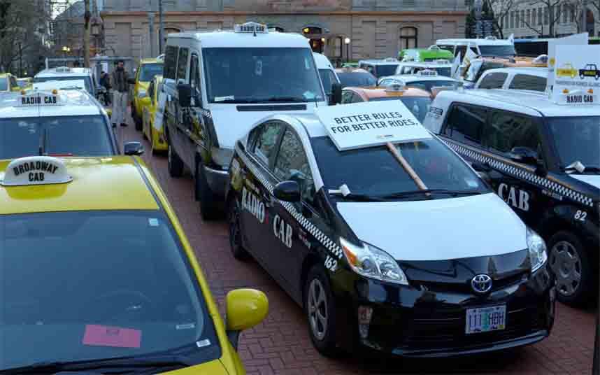 El taxi protesta contra Uber en Portland, Estados Unidos
