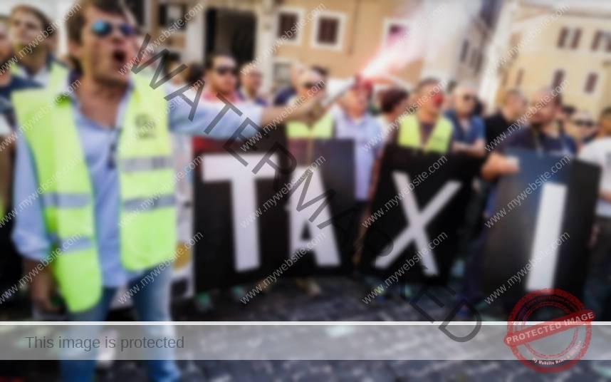 Protesta contra Uber en Roma el 10 de septiembre de 2015