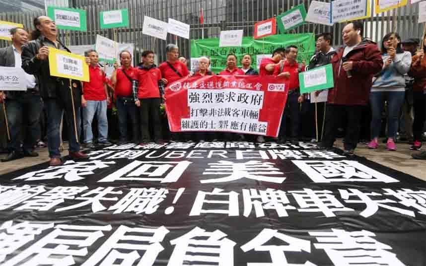 Los taxistas de Hong Kong protestan contra Uber