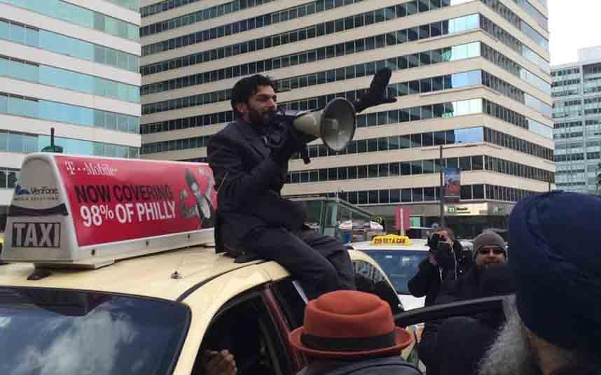 Los taxistas de Pensilvania protestan contra Uber en Filadelfia