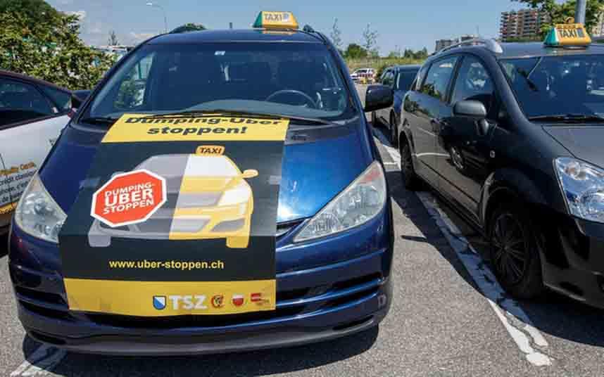Los taxistas suizos protestan en Zurich contra UBerPop