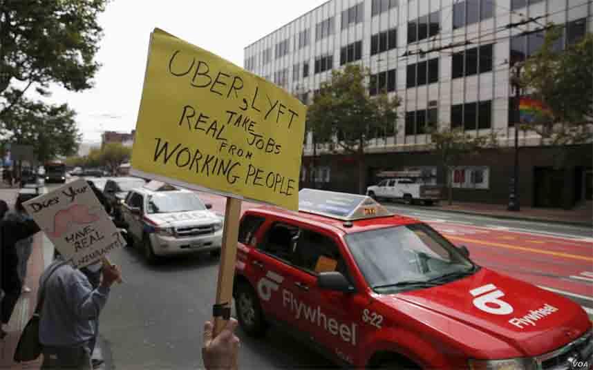 Protesta de los taxistas contra Uber en San Francisco