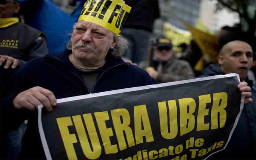 Protesta de los taxistas en Nueva Jersey contra Uber