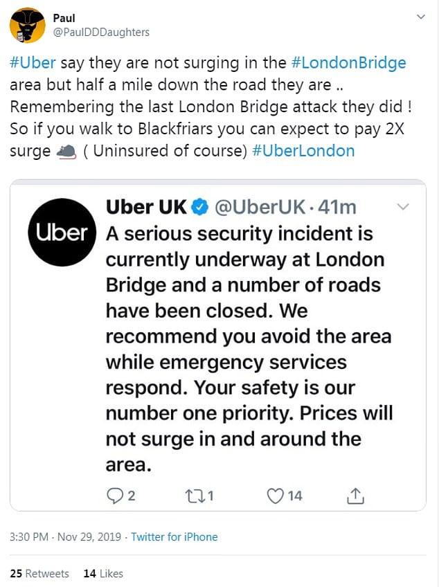 Uber lo ha vuelto a hacer: Sube las tarifas durante el atentado en Londres