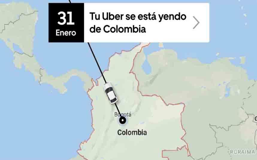 Uber se va de Colombia a final de enero y lo hace queriendo dar pena