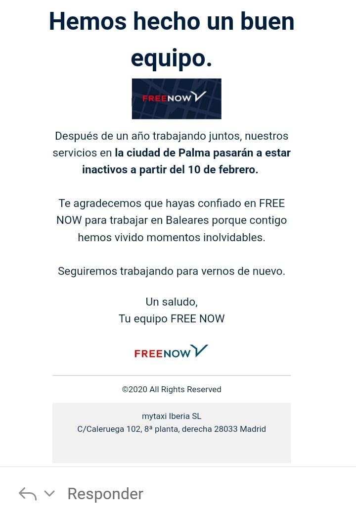 Free Now (Mytaxi) abandona Palma de Mallorca
