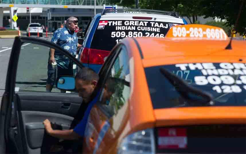 Protesta de los taxistas de Spokane (Washington), contra Uber y Lyft
