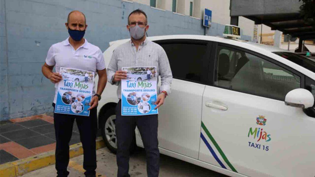 Taxistas y consistorio ponen en marcha la campaña 'Taxi Mijas, transporte seguro'