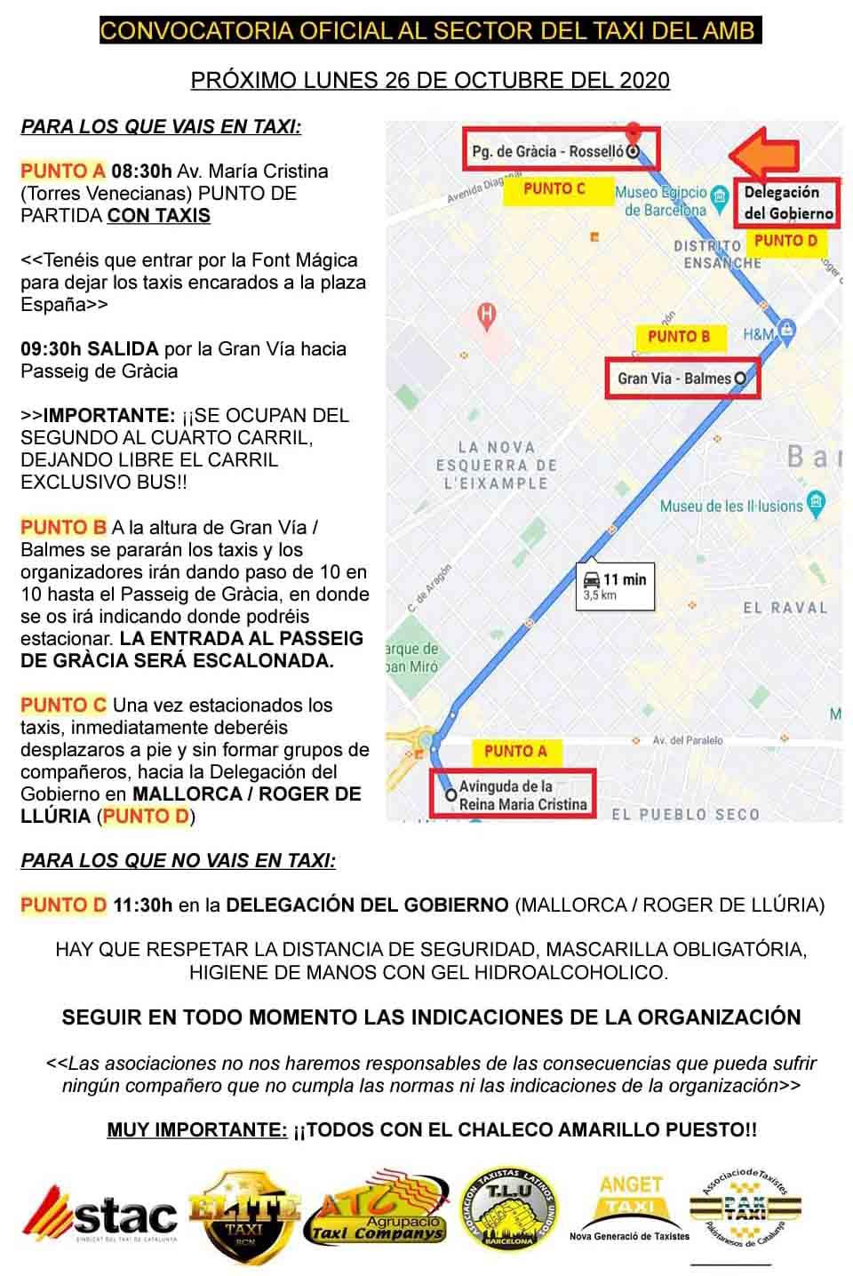 Los taxistas de Barcelona, puntuales a la concentración en la Plaza de España