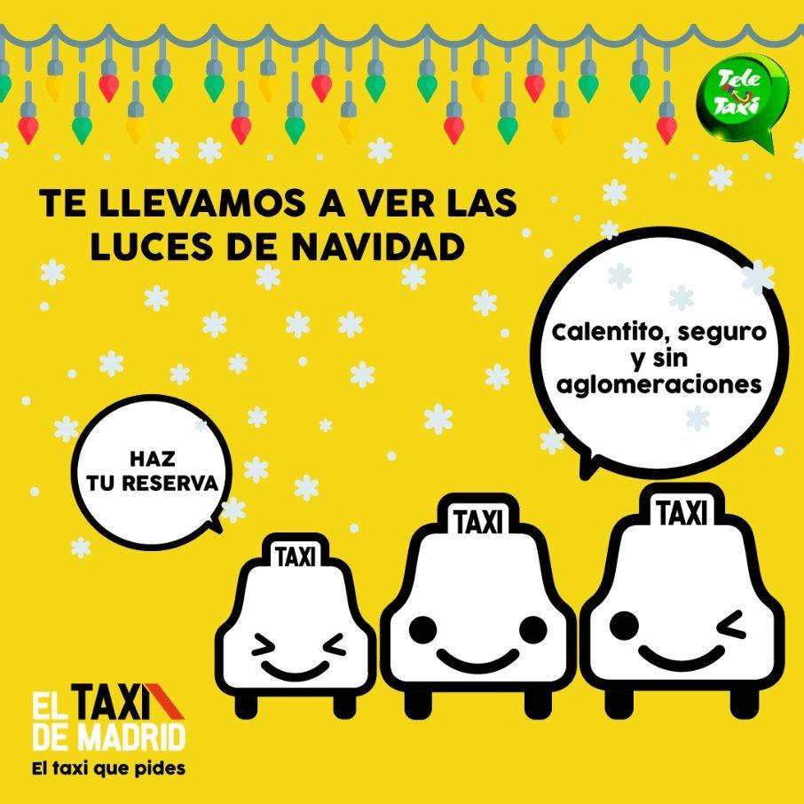 Los taxistas llevarán a los madrileños a ver las luces de la capital de una forma segura estas navidades